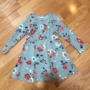 Baby Gap Floral fit & flair sweatshirt dress 4T